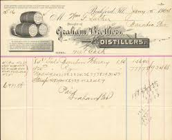 Pumpkin Patch Caledonia Il For Sale by Rockford Illinois Graham Bros Distillers Whiskey Invoice 19th