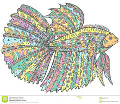 Betta Fish Coloring Pages Doodle Colorful Version Page Vector Hand Drawn Illustration Sea Animal Adult Kids