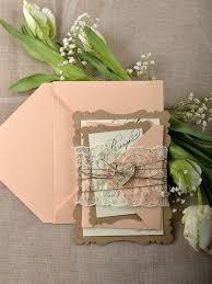Rustic Wedding Invitations 20 Lace Laser Cut Invitation Eco Chic Peach Romantic Invites