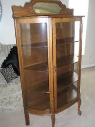 ANTIQUE Larkin Co Oak China Cabinet Curved Glass Backsplash w