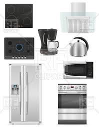 Set Of Kitchen Appliances Fridge Oven Kettle Coffee Machine And Extractor Hood