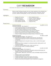 Example Of A Warehouse Resume Associate Sample Supervisor Objective