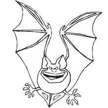 Scary Bat Flying Halloween Coloring Page