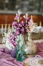 Purple Rustic Wedding Glass Bottle Centerpiece