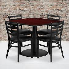 36'' Square Mahogany Laminate Table Set With Round Base And 4 Ladder Back  Metal Chairs - Black Vinyl Seat Modern Fast Food Restaurant Fniture Sets Chinese Tables And Chairs Buy Fniturefast Ding Room 1000 Ideas About For Sale Used Restaurant Tables Traditional Coffee Shop Chairs From 15 Professional Wooden For In Tower Bridge Ldon Gumtree Custom Commercial Plymold Used Booths In Communal Table Wooden Awesome Hot Item 40 Square Hotel Metal Steel With Chair Set 100s Faux Leather Pin By Cost U Less Total Fniture Interior Solutions On Cost
