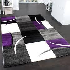 moderner teppich karo lila violett grau