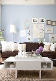 Love This Room How The Dark Brown Couch Seems To Ground Blue Living RoomsLiving IdeasLiving