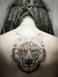 Awesome Geometric Wolf Tattoo On Back