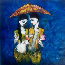 Buy Couple With Umbrella Artwork Number A Famous Painting By An Indian Artist Mukesh Salvi Art Ideas Offer Contemporary And Modern At Reasonable