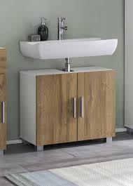 bad casa waschbecken unterschrank mit 2 türen stehende und hängende montage möglich korpus weiß dekor und front alteiche dekor melamin