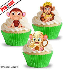 PRE CUT CUTE MONKEYS EDIBLE RICE WAFER PAPER CUPCAKE CAKE DESSERT TOPPERS KIDS CHILDREN BIRTHDAY GIRL BOY PARTY AFRICAN SAFARI JUNGLE ANIMALS DECORATIONS