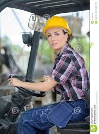 100 Female Truck Driver Fork Lift In Factory Stock Image Image