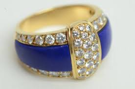 authentic cleef 18k gold lapis lazuli band ring