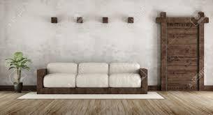wohnzimmer im rustikalen stil mit holz und alte holztür 3d rendering