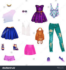 set stylish clothe paper doll ready stock vector 210754849