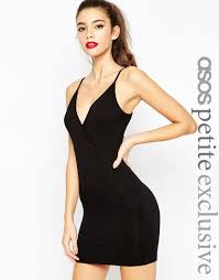 asos petite wrap front bodycon dress with strappy back in black lyst