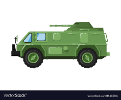 Modern Army Truck Isolated Icon Royalty Free Vector Image