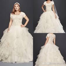 Discount Oleg Cassini Modest Ruffle Country Lace Wedding Dresses