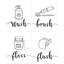 anhuib 4er set badezimmer sprüche poster wash brush floss flush toilette zitate deko wandbild schwarz weiß bilder kinder toilet wanddekoration für