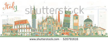 Abstract Italy Skyline With Landmarks Business Travel And Tourism Concept Historic Architecture Image