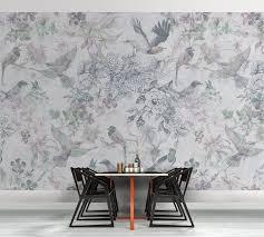 tapeten im esszimmer fototapete birds and flowers grey