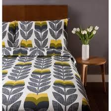 Orla Kiely House Scribble Rosebud Corn Yellow Duvet Cover Double
