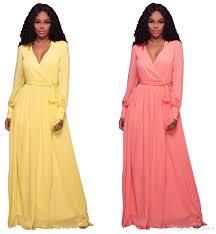 fashion long sleeve sashes maxi long dresses women elegant v neck