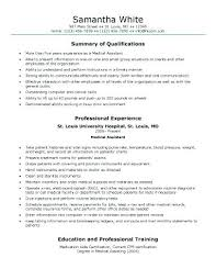Medical Assistant Resume Example Generic Sample Entry Level No Experience