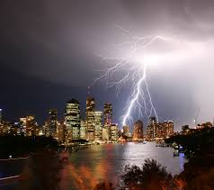 Lightning Storm Over Brisbane City