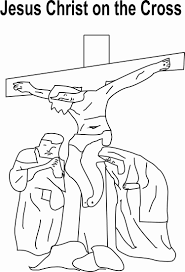 Jesus Christ On Cross Coloring Page For Kids