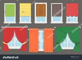 European Cafe Window Art Curtains by Vector Collection Various Window Treatments Curtains Stock Vector