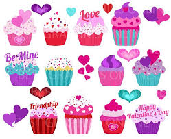 OFF SALE Valentines day Cupcake Clipart Assorted Cupcakes