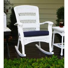 Tortuga Outdoor Portside Plantation Outdoor Rocking Chair White Wicker With  Blue Cushion Resin Wicker Porch Rockers Easy Care Rocker Charleston Rocking Chair Camel Back Chairs Set Of Two White Summer Outdoor Belwood With Floral Cushions 3pc Cushion And End Table Faux Book Pocket Coral Coast With Khaki The Portside Plantation All Weather Tortuga