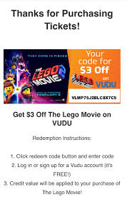 $3 Off Lego Movie Coupon, Already Have In My Library. : Vudu
