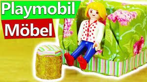 playmobil wohnzimmer einrichten mit diy möbeln kleiner hocker passend zum sessel sofa