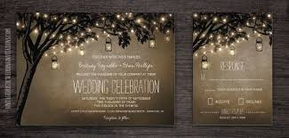 Vintage Mason Jar Wedding Invitations With String Lights Hanging From And Oak Tree