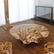 design wurzelholz couchtisch naga glasplatte 100 cm handarbeit massiv baumstamm teak wurzel wohnzimmer tisch