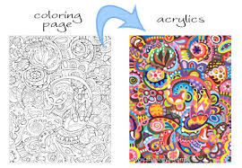 Abstract Coloring Page With Acrylics
