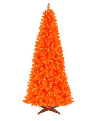 Black Slim Christmas Tree Pre Lit by Orange Artificial Christmas Tree Treetopia