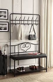 Black Metal And Bonded Leather Entryway Shoe Bench With Coat Rack Hall Tree Storage Organizer 12