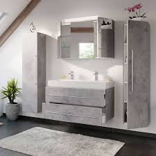 bad möbel kombi mit 100cm doppel waschtisch lissabon 02 in beton optik grau b h t 200 200 48cm