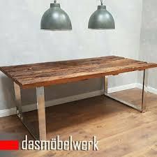 details zu esstisch massivholz tisch holz edelstahl industrie design shabby 180 cm af141217