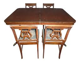 Vintage 1940s Duncan Phyfe Table With Chairs And Leaf - 5 Pieces 1940s Chinoiserie Mahjong Card Table Set 5 Pieces At 1stdibs Kitchen Design Lovetoknow Wooden Poker Chairs Antique Rare Vintage Set Of 4 Stakmore Folding Chairscarved Whiskey Barrel Back Swivel Base Exceptional Brassinlaid Or Gaming In The Neoclassic Manner Vintage 1940s Club Chair Expanding Tables Grow To Suit Needs Trader Why Phillipe Starcks Ghost Chair Is Here For Eternity Pair Armchairs Easy Attributed Jean Royere