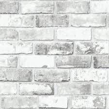 Image Is Loading White Brick Wallpaper With Grey Tones And Silver