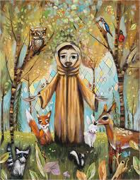 francis assisi in forest with animals fox bunny