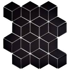 Home Depot Merola Penny Tile by Merola Tile Metro Rhombus Matte Black 10 1 2 In X 12 1 8 In X 5