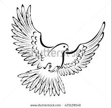 artistically painted stylized flying dove on a white background Tattoo style Style