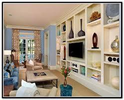 decorating built in shelves in family room home design ideas