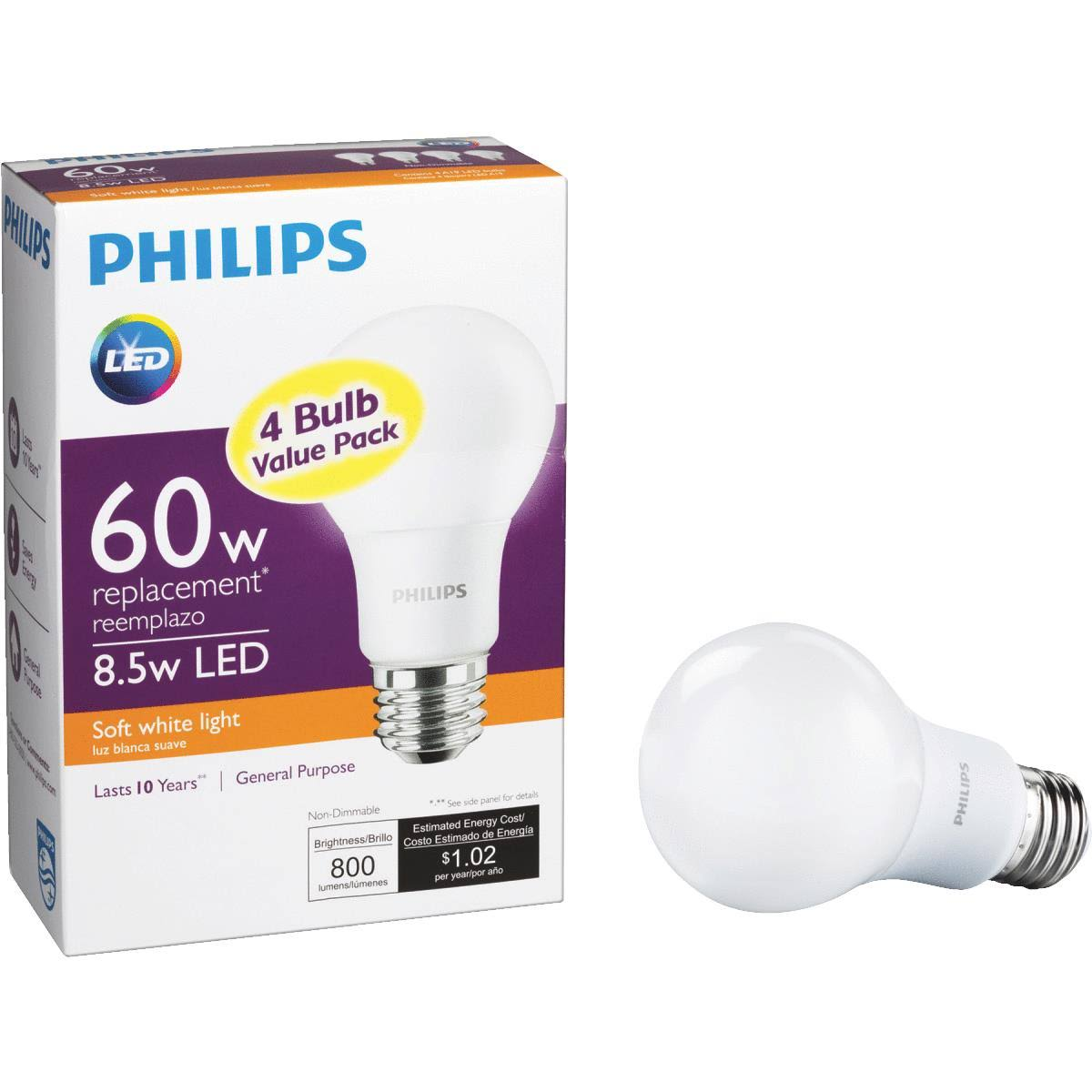 Philips A19 LED Light Bulb - 60W Equivalent, Soft White