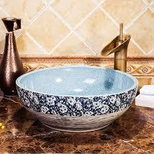 europa stil zähler top porzellan waschbecken badezimmer waschbecken keramik blau waschbecken riss